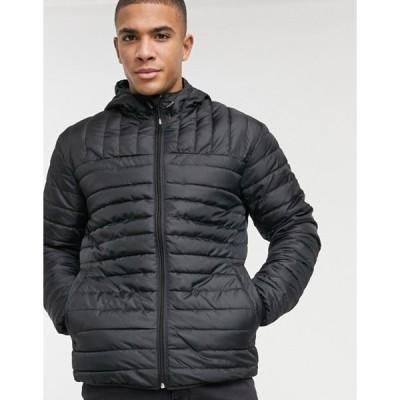 オンリーアンドサンズ メンズ ジャケット・ブルゾン アウター Only & Sons padded jacket with hood in black