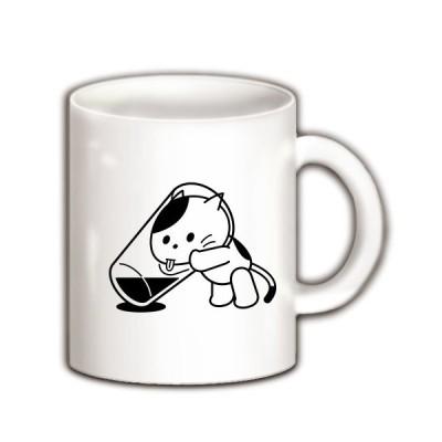 コップの水とねこ マグカップ(ホワイト)
