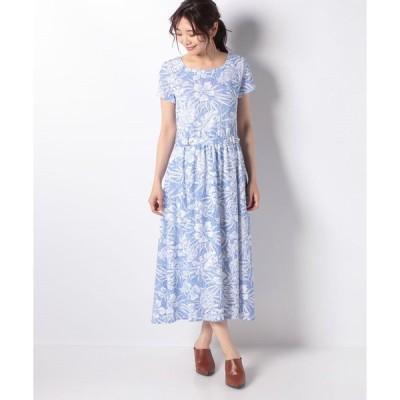 【ラ ジョコンダ】【洗える】カノコジャージー 花柄プリントワンピース