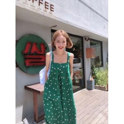 オールインワン サロペット レディース 大きいサイズ 韓国 ファッション ロング丈 ドット柄 フルレングス ゆったり 大人可愛い カジュア