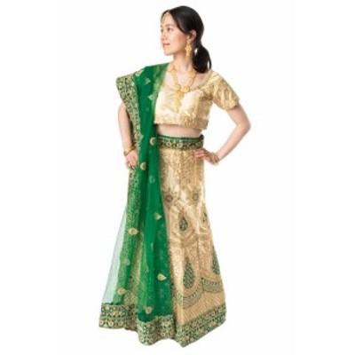 【送料無料】 【1点物】インドのレヘンガドレスセット ホワイト×グリーン / パーティードレス コスプレ ウェディングドレス 民族衣装 サ