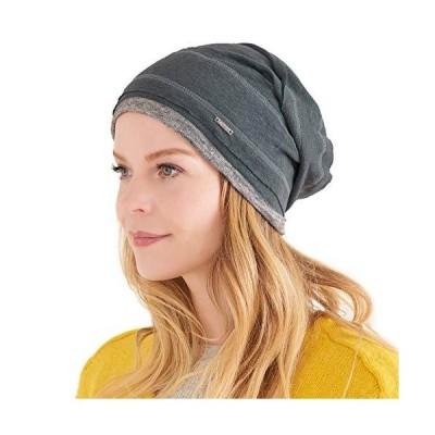 CHARM Slouchy Linen Beanie Hat - Mens Lightweight Knit Hat Womens Baggy Summer Slouch Dark Gray【並行輸入品】