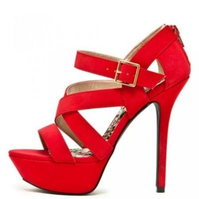 キューピッド レディース パンプス Qupid Adjustable Ankle Buckle Strap Back Closure Open Toe Dress Sandals Quletti-02 Red