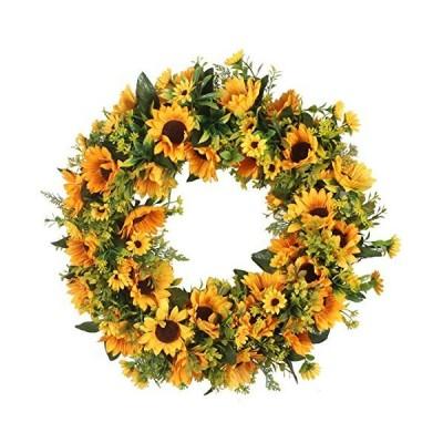 海外限定 Duovlo 20 Inch Sunflowers Flowers Greenery Wreath Summer Fall Celebrate Handcrafted Door Wreath Wildflowers Decoration
