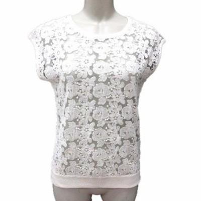 【中古】リランドチュール Rirandture カットソー 刺しゅう 花柄 フレンチスリーブ 2 白 ホワイト /YK レディース