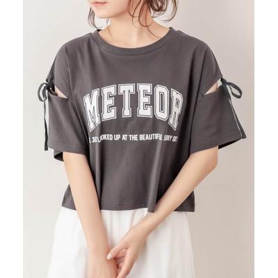 肩あきカレッジプリントTシャツ