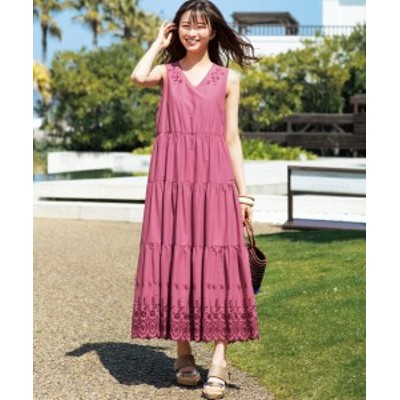 ワンピース ロング マキシ 大きいサイズ レディース 裾刺しゅう ティアード カーキブラウン/チェリーピンク 8L/10L ニッセン
