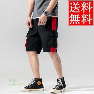 カーゴパンツ メンズ 短パン デザイン ポケット 配色切替え バイカーパンツ スポーツパンツ コットンパンツ ショート ショート丈