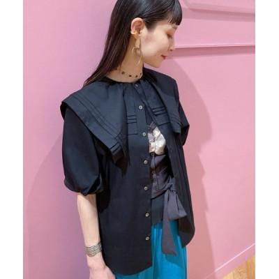 シャツ ブラウス MIYAO × Ray BEAMS / 別注 タックカラー ハーフスリーブ ブラウス
