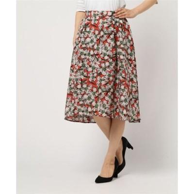 スカート 麻調合繊フラワープリントスカート