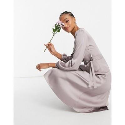 ティーエフエヌシー ミディドレス レディース TFNC bridesmaid satin long sleeve wrap front midi dress in grey エイソス ASOS グレー 灰色