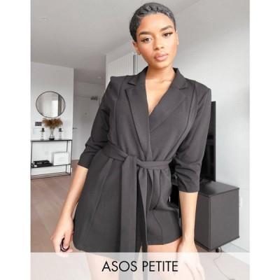 エイソス ASOS Petite レディース スーツ・ジャケット アウター ASOS DESIGN Petite jersey wrap suit blazer in black ブラック