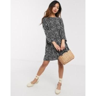 エイソス レディース ワンピース トップス ASOS DESIGN long sleeve smock mini dress in mono leopard Mono leopard