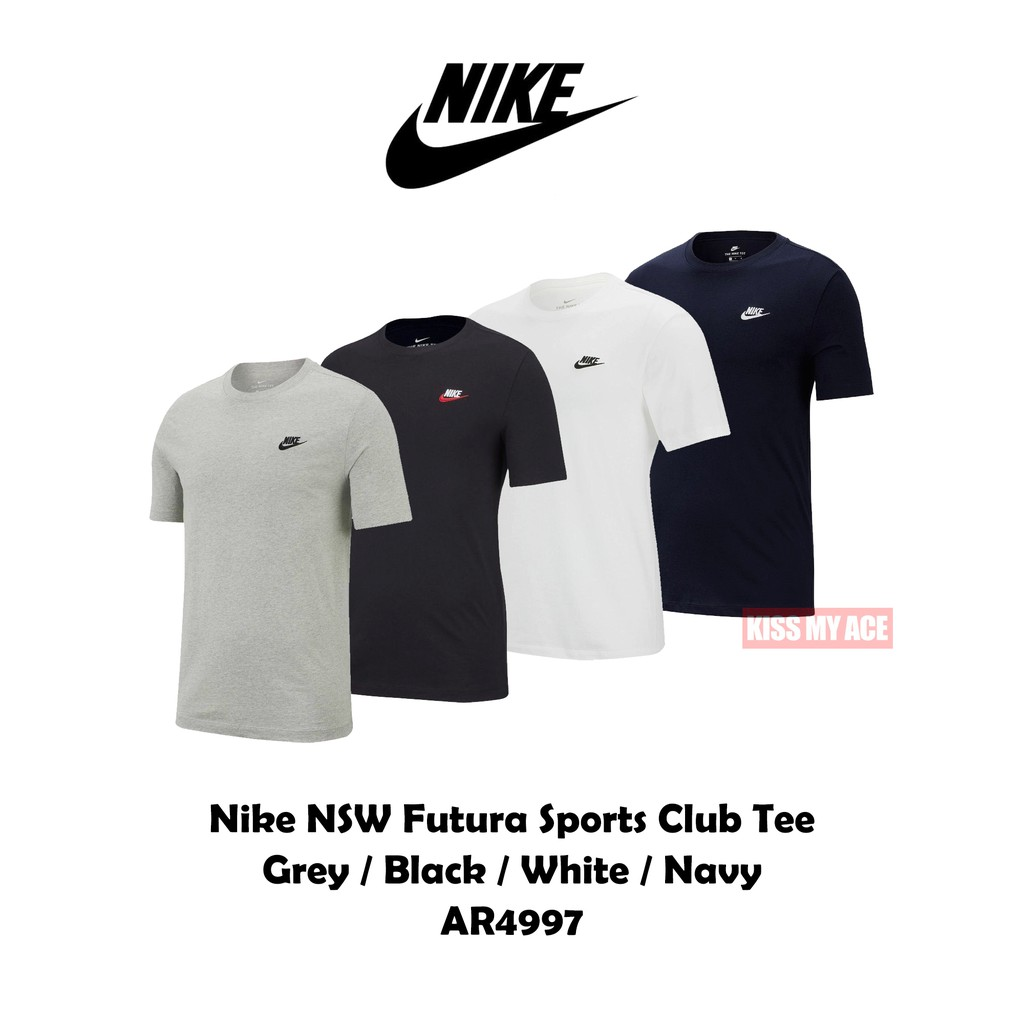 NIKE Club Futura Tee 黑 白 灰 深藍 電繡 素T 小Logo 短T 短袖 上衣 AR4997