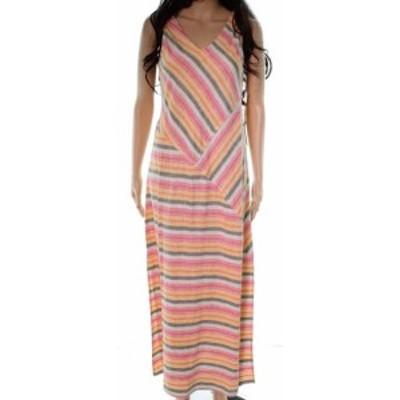 Maxi  ファッション ドレス Caslon NEW Orange Chevron V-Neck Womens Size XXS Linen Maxi Dress