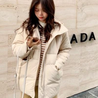 ダウンジャケット フード付き レディース ダウン アウター 防寒 防風 軽量 ビックシルエット 小柄 小さいサイズ 小さい 服
