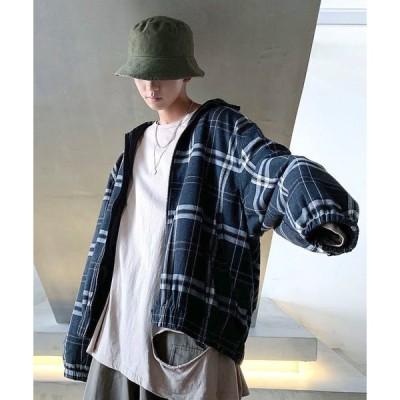 ジャケット ブルゾン 【neos -sellect design-】ビッグシルエット タータンチェック スウィングトップ
