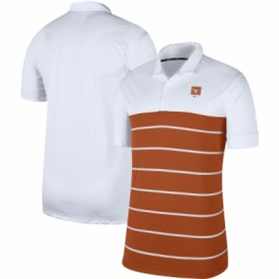 """ナイキ メンズ """"Texas Longhorns"""" Nike Striped Polo ポロシャツ半袖 White/Texas Orange"""