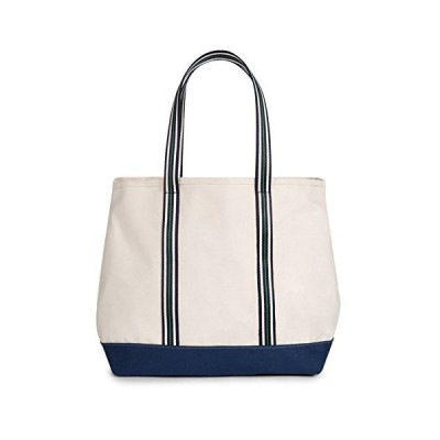 cinda b. Canvas Collection Resort Tote, Natural/Navy, One Size 並行輸入品