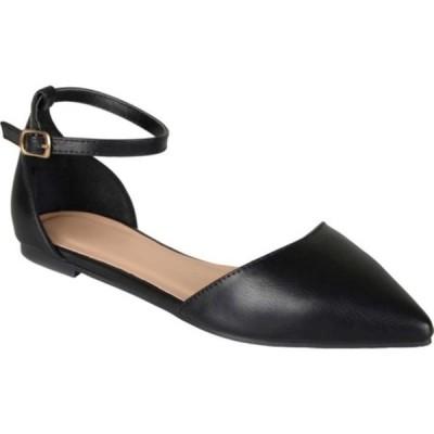 ジャーニーコレクション レディース サンダル シューズ Reba Ankle Strap Flat Black Faux Leather