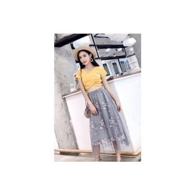 スカート ロング丈 マキシ チュール KL 花柄 刺繍 プリーツ Aライン カジュアル 上品 結婚式 パーティー