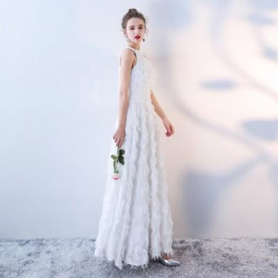 大人気 ふわふわフェザー ホルターネック ウェディングドレス 白 二次会 花嫁 ウェディングドレス 大きいサイズ激安ウェディングドレス whwdgdrsb-V0012