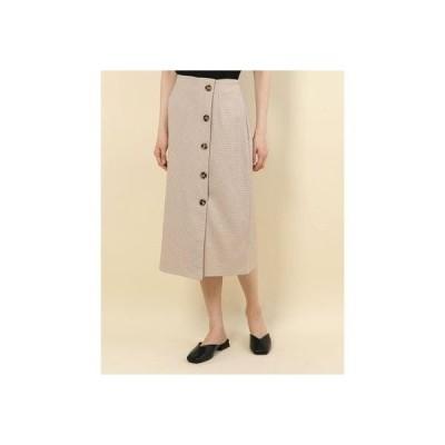 アルシーヴ archives ラップボタンチェックタイトスカート (BEIGE)