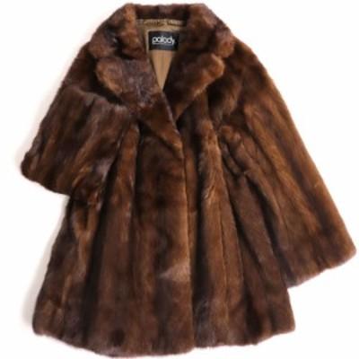 美品▼Palody MINK パロディ ミンク 本毛皮コート ブラウン 毛質艶やか・柔らか◎