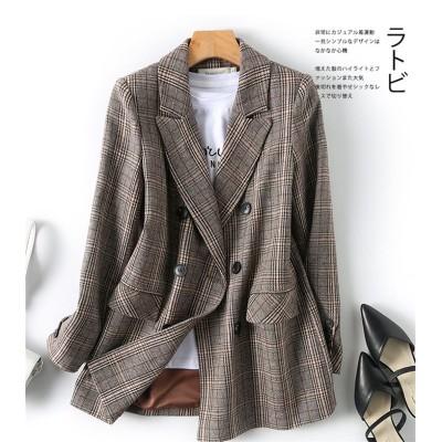 今から買い足すならこの1枚 2020  春 チェック柄 スーツ 女性 新作 英国スタイル ファッション 学院風 カジュアル フレンチ コート レトロ 百掛け エレガント 簡約 トップス