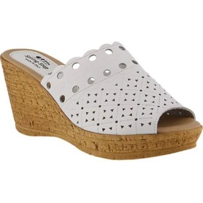 スプリングステップ レディース サンダル・ミュール シューズ・靴 Nava Wedge Slide White Leather