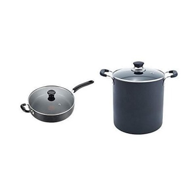 T-fal B36290 Specialty Nonstick 5 Qt. Jumbo Cooker Saut〓 Pan with Glass Lid, Black AND T-fal B36262 Specialty Total Nonstick Dishwasher Saf