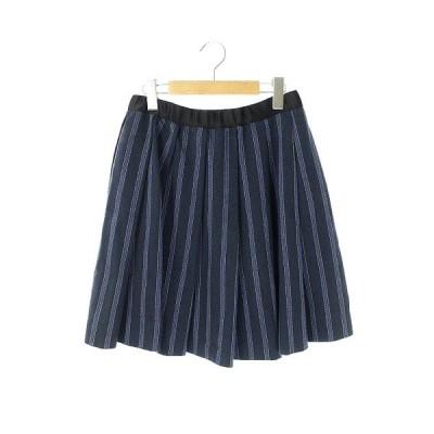 【中古】ドゥロワー Drawer ストライプ柄ギャザースカート フレア プリーツ 膝丈 38 紺 青 黄色 /AA ■OS ■SH レディース 【ベクトル 古着】