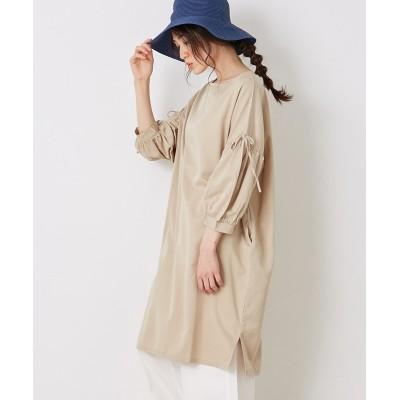 【Green Parks(グリーンパークス)】・袖ギャザーワンピース (ワンピース)Dress