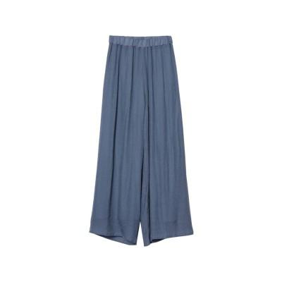 リエディ Re:EDIT [涼感][お家で洗える][低身長向けSサイズ対応]スラブ楊柳ドロストセミワイドストレートパンツ (ブルー)