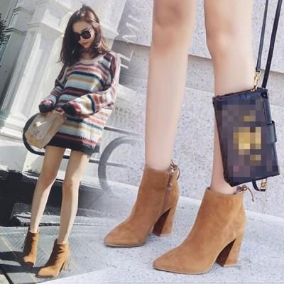 ショートブーツ ブーツ レディース シューズ 靴 ハイヒール 美脚 歩きやすい アンクルブーツ カジュアル 太ヒール