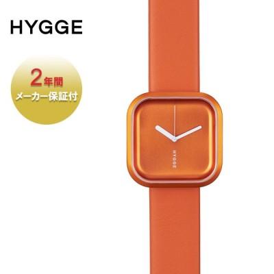 HYGGE ヒュッゲ 腕時計 ブランド おしゃれ レディース メンズ 時計 北欧 日本製 正方形 アナログ 防水 レザー 革 プレゼント オレンジ