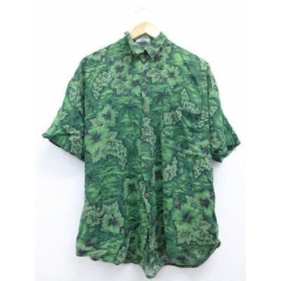 XL★古着 ハワイアン シャツ ハイビスカス ヤシの木 緑