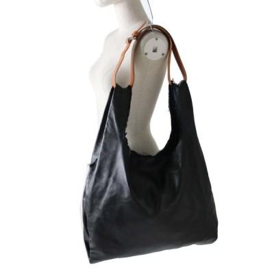 良品◎正規品 イタリア製 マルタンマルジェラ 白タグ レディース ベルト付き オールレザー 三角トートバッグ ブラック×キャメル