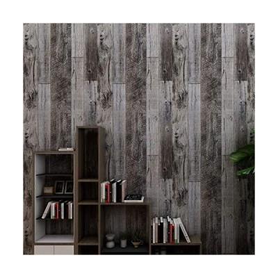 HAMIGAR グレーウッドピールアンドスティック壁紙 自己粘着紙 装飾壁カバー 取り外し可能 17.71×118.1イン