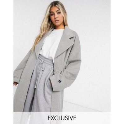 コルージョン Collusion レディース コート ロング アウター COLLUSION longline brushed faux wool overcoat in light grey グレー
