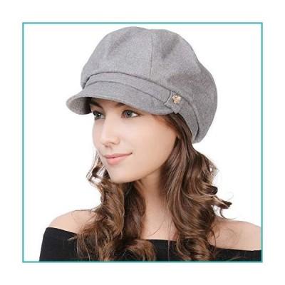 J&A Womens Newsboy Peaked Cap Visor Beret Winter Fashion Baker Boy Peaked Cap for Ladies Painter Newsy Cabbie Hat Satin Lined Grey M【並