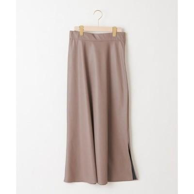 スカート 【柔らかく上品な表情のスカート】エコレザーロングスカート
