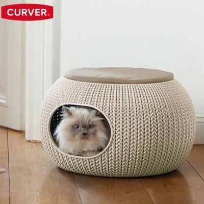 先行予約6月中旬入荷予定 猫 犬 ペット用ベッド ドーム型  洗える 洗濯 通年 高級 Curver Knit Cozy Pet Bed カーバー ニット コージー ペットベッド hnw1