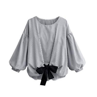 [モルクス] #82 シャツ しゃつ トップス ブラウス ストライプ 袖 大人 長袖 九分袖 長そで 夏用 おおきい かっこいい 女の子 リボン付き