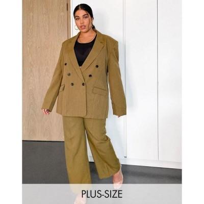 コリュージョン レディース カジュアルパンツ ボトムス COLLUSION Plus exclusive straight leg pants in tan pinstripe Tan pinstripe