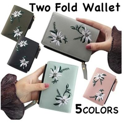 財布 レディース 二つ折り財布 カードケース 花柄 小銭入れ 定期入れ 収納 大容量 PUレザー 可愛い おしゃれ