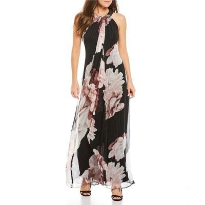 イグナイトイブニングス レディース ワンピース トップス Floral Print Metallic Stripe Beaded Halter Dress Black/Multi