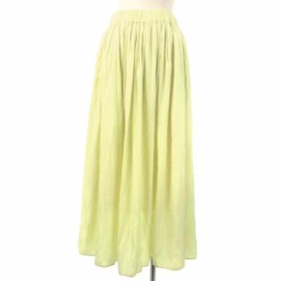 【中古】未使用品 ノーリーズ 近年モデル 割繊ロング丈 ギャザー スカート フレア ロング イエロー 38 レディース