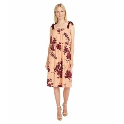 ボベー レディース ワンピース トップス Grossgrain Tie Dress Coral Stencil Floral
