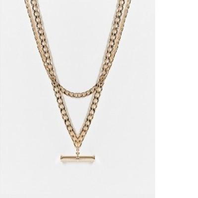 エイソス レディース ネックレス・チョーカー アクセサリー ASOS DESIGN multirow necklace with t bar pendant in gold tone Gold